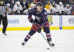 29 September 2016: Columbus Blue Jackets defenseman Zach Werenski #8 during the preseason game between the Columbus Blue Jackets and the Nashville Predators Nationwide Arena in Columbus, Ohio. (Photo Credit: Jason Mowry/ICON Sportswire)