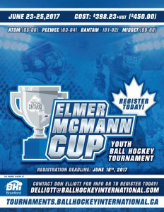 image of elmer mcmann cup ball hockey tournament poster