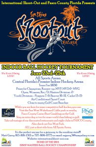 image of sunshine shootout ball hockey poster